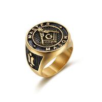 Design unico 316L in acciaio inox in acciaio inox Gold MASON MASONIC MASTER RING ANELLO MASON MASON SIGNET anelli gioielli per uomo