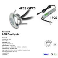 4-5pcs / مجموعة DC12V 1W LED الطابق ضوء راحة درج مصباح تحت الأرض IP67 للماء أضواء LED الكلمة الخفيفة ستريت مع سائق IP67 CE