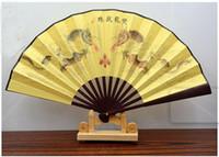 50個中国風の絹の折りたたみ竹のハンドファンのファン手作りメンズ折りたたみ竹ファン2サイズのマルチスタイルの配送ランダム
