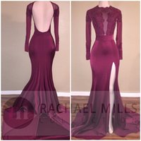 Abiti da ballo africani 2018 Long Custom Sheer Manica lunga Backless Lace Satin Mermaid Black Girls Borgogna Abiti da sera BA5416