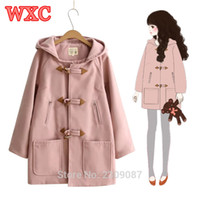 a6623c7d8aa43 Women Hooded Wool Blends Coat Harajuku Horn Button Middle Long Coats Winter  Preppy Style Mori School Girls Casual Outerwear WXC