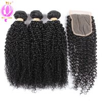Curly With Closure Brazilian Peruvian Malaysian Curly Human ...