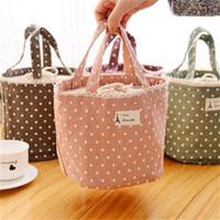 Borsa da pranzo in tela cotone e lino con stampa a onde, borsa da viaggio in materiale isolante