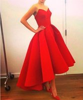 Simple ruched red satin a line high low prom dresses 2018 sw...