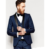 Groom Tuxedos Groomsmen One Button Navy Blue Shawl Lapel Bes...