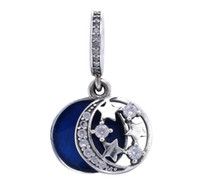Authenic 925 Sterling Silver Blue Star Lune Drop Dangling Européenne Charms Fit Pour Pandora Style Bracelets BRICOLAGE Lâche Charme