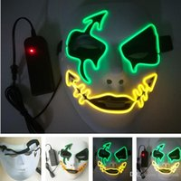 Scary Masks LED Luminous Mask Halloween Glowing Full Face Ma...