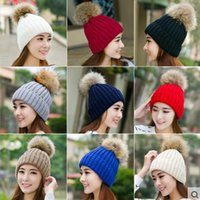 Зимняя мода шапочка классическая вязаный меховой помпон шляпа женская шапка зимняя шапка головной убор головной убор теплее