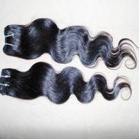 Große Lager 5pcs / lot billig bearbeitete peruanische menschliche haare webart body wave schussfarbe # 1b uk weave star