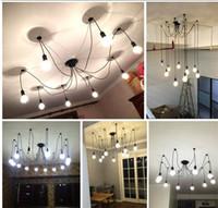Hängsmycke Belysning Moderna nordiska retro hängande lampor ljuskrona Edison Bulb fixtures Spindel taklampa Fixture Light för vardagsrum