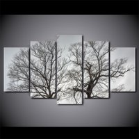 5 Pieces Trees Together Autumn Sights Wall Art Canvas Pictur...