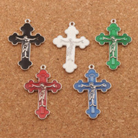 Enamel Jesus Crucifix Cross Charms Pendants 70pcs lot 21x33....