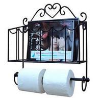 Оптово Бесплатная доставка! Мода кованого железа мебель держатель бумажных полотенец журнал стойки стены ванной комнаты полка