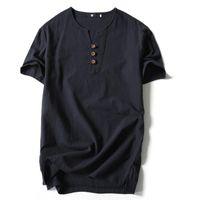 Tshirt de style chinois pour les hommes d'été plus la taille lâche en coton à manches courtes v col t shirt pour les hommes de la mode poloshirt chemise hommes livraison gratuite