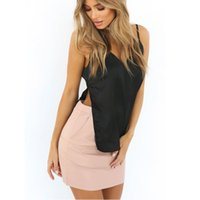 Nadafair Sexy Backless V Neck Two Side Split Satin Slit Tank...