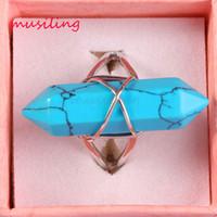 Anel de Cristal de casamento Hexágono Prisma Anéis Ajustáveis Para As Mulheres Encantos Pedra Natural Ametista Onyx etc Acessórios Jóias Da Moda Europeia
