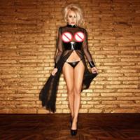 Femmes élégantes Voir À travers Mesh Split Robe Longue Sexy Patchwork Vêtements De Nuit Gothique Lingerie Temptation Costume Taille S-XXL