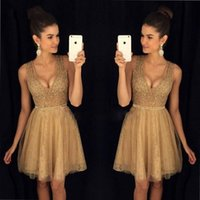 2017 New Sexy Gold Short Homecoming Dresses A Line V Neck Be...