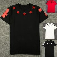 2017 summer embroidery star number print t- shirt men short s...