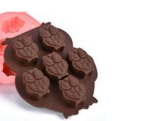 100pcs / lot, 6 fori gufo forma di cioccolato stampo fai da te decorazione della torta del silicone della muffa della gelatina di cottura del ghiaccio muffa del regalo di amore muffa del cioccolato