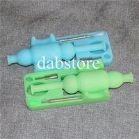 Bagliore nel set di nettare di silicone scuro con strumento dabber da 120 mm e bocchino per olio in nettare di silicone da 10 mm Ti nail