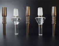 tubi in vetro di titanio Tip quarzo Consigli Mini Domeless Titanio Nail quarzo Nail 14 millimetri 18 millimetri Nail invertito per Nectar collezionista di paglia Dab Rigs
