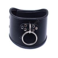 520 * 100 milímetros Choker Black Leather Collar Com tração do anel ajustável Belt Slave Dog Fetish Bondage BDSM Correia de pescoço Sex produtos
