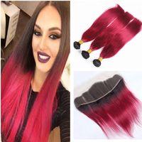 Paquetes de cabello humano rojo brillante con cierre frontal de encaje Extensiones de cabello humano brasileño de la Virgen con cabello frontal de cordón rojo Ombre