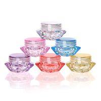 3 Gramm 5 ml Kunststoff Kosmetik Behälter Glas Diamantform 8 Farben Mini Leertopf Für Lidschatten Nägel Pulver Perlen Schmuck Sahne Wachs