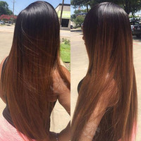 Fashion Ombre Brown Long Silky Straight Synthetic Lace Front...