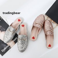 Fashion flat mule glitter pink silver sequined slipper women...