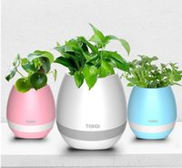 2017 Creatives toque inalámbrico Bluetooth Flowerpot Mini altavoz de subwoofer con múltiples colores LED Home Smart Plant Reproductor de música de oficina Mp3