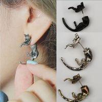 Mode femme mignonne jolie léopard chat charme piercing boucle d'oreille bijoux punk unique goujons oreilles