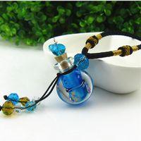 Frasco De Perfume de vidro Medalhão Aromaterapia Colar de óleo essencial Difusor pequeno frasco pingente de colar de flores Filigrana camisola colar