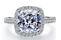 Schnelles freies Verschiffen 3 CT-Großverkauf-Loch-Art-synthetischer Diamant Prinzessin schnitt Sterlingsilber-Verlobungsring 18k Weißgold überzog Ring