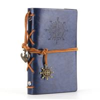 Couro Escrita Jornal Notebook Espiral Náutico Do Vintage Em Branco 6 Fichário de Corda Diário Notepad Viagem para Escrever em Papel Sem Forro Azul Escuro