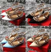 Genuine leather Strap Studded Women Flats Shoes Pointed Toe ...