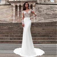 Maravilloso satinado ver a través de Bateau Escote Sirena Vestidos de novia Aplique Lace Mangas largas Vestidos de novia Vestidos de Formateo