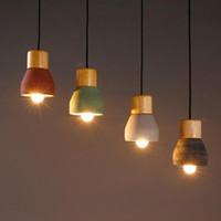 Лофт Industrial Light Cement Wood Art Подвеска лестничные Лобби Магазин Deco Крепеж Потолочный светильник Потолочный светильник Люстра Home Deco 4 цвета
