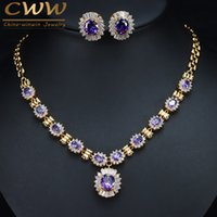 CWWZircons Brilliant Round Dangle Drop Purple Crystal Bridal...