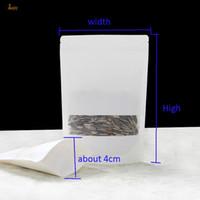 100pcs / lot 7sizes weißer Kraftpapierverpackungsbeutel mattierte Fenster stehen oben Reißverschlussverpackungsbeutel-Zipsperrenhändlerpaket