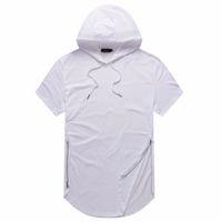 Man Summer Tshirts Ярус Кривая Хем Футболка с капюшоном на молнии дизайн с короткими рукавами Повседневный Tops для мужчины