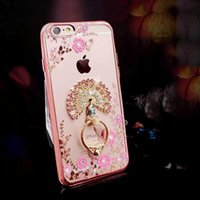 Venta al por mayor de Lujo Bling Diamond Ring Holder Phone Case Crystal TPU para Iphone 6 6s 6 plus iphone 7 7 plus con Kickstand