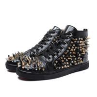 Металлические заклепки черные кроссовки мужские квартиры женские высокий топ причинно-следственной обуви дизайн роскошные Осень Зима Весна натуральная кожа обувь большой размер США 4-13