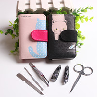 6 pz in 1 in acciaio inox portatile manicure set nail art cura pedicure strumenti di bellezza nail clipper cutter scissor kit cat caso di stampa regalo