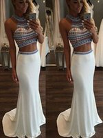 Mermaid White Halter Beads Two Pieces Prom Dresses High Neck...