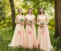 Elegante Mädchen Brautjungfernkleider Land Stil Lange Tüll Brautjungfer Kleider für verschiedene Stil Spitze Top Hochzeit Gastkleider 2018