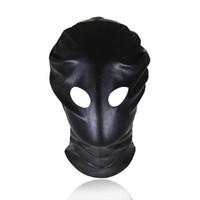 Cuoio nero testa cappuccio maschera imbracatura giochi per adulti cappe maschera occhi maschera cava bdsm bondage ritenuta cappuccio giocattoli del sesso per coppia