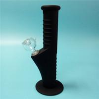 Noir Mini-Silicone Water Bongs Dix couleurs avec verre de verre 14mm Tuyaux d'eau incassables Bongs Bongs Tuyaux de barbillure