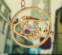 Harry Potter Hermione Granger Girando o tempo Turner Colar 6 cores Gold Hourglass Pendant Necklace 1000pcs OOA2252